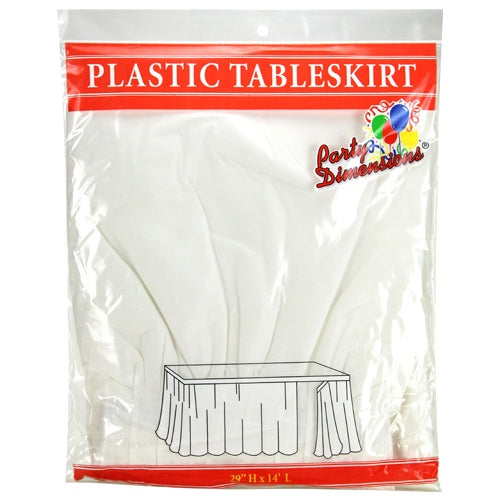 "29"" X 14' Plastic Tableskirt - White"