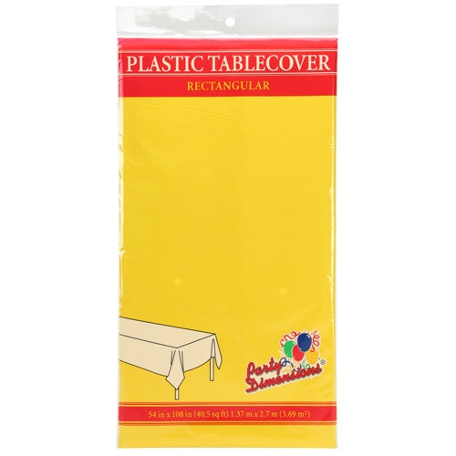 "54"" X 108"" Rectangular Plastic Tablecover - Sunshine Yellow"