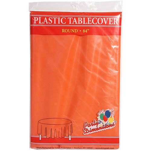 "84"" Orange Round Plastic Tablecover"