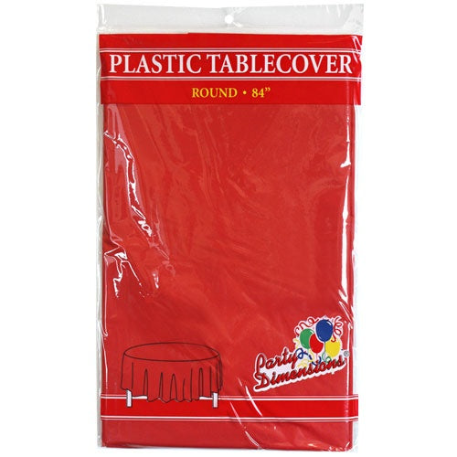 "84"" Red Round Plastic Tablecover"