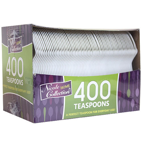 Boxed White Medium Weight Teaspoon 400 Count