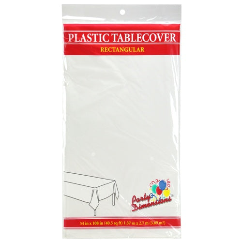 "54"" X 108"" Rectangular Plastic Tablecover - White"