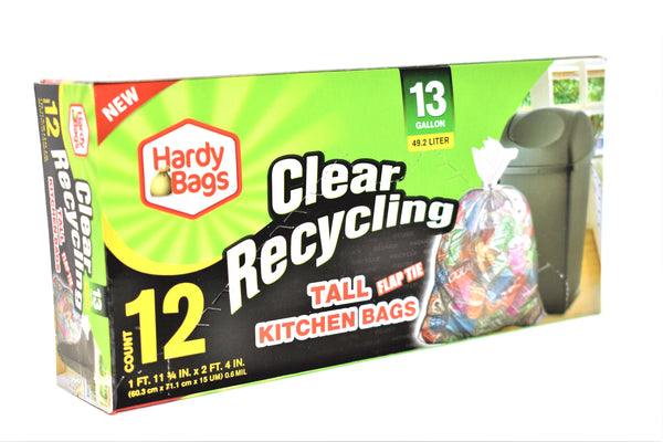 Hardy Bags 13 Gallon Clear Recycling Tall Kitchen Bags, 12 ct.