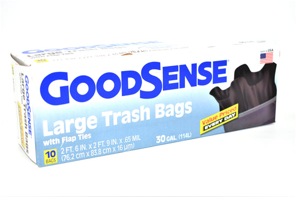 GoodSense 30 Gallon Large Trash Bags with Flap Ties, 10 ct.