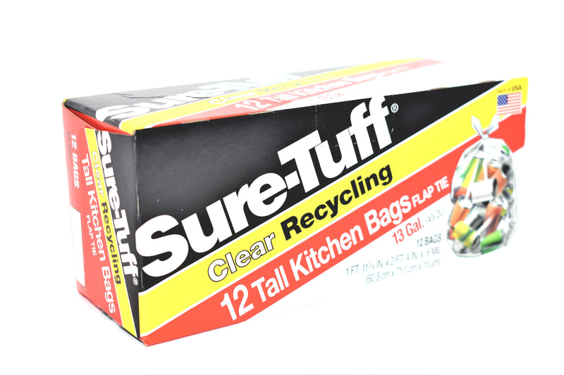 Sure-Tuff 13 Gallon Clear Recycling Tall Kitchen Bags, 12 ct.