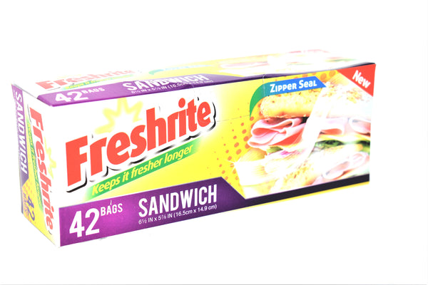 Freshrite Sandwich Bags w/ Zipper Seal, 42 ct.