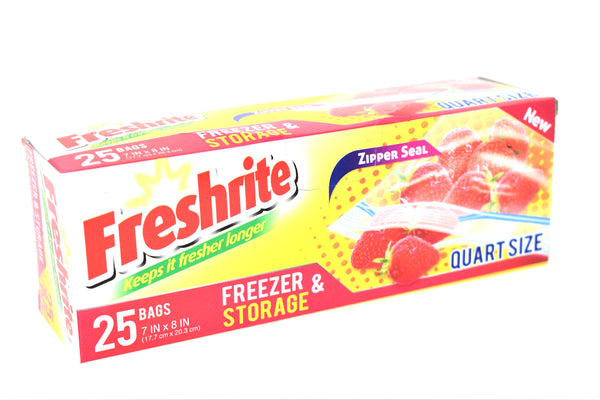 Freshrite Zipper Seal Quart Size Freezer & Storage Bags, 25 ct.