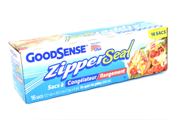 GoodSense Zipper Seal Quart Size Freezer / Storage Bags, 16 ct.