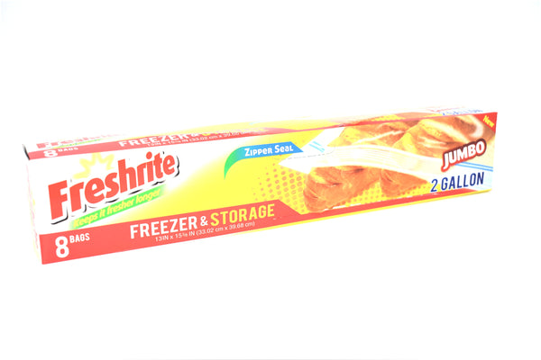 Freshrite Jumbo 2 Gallon Zipper Seal Freezer & Storage Bags, 8 ct.