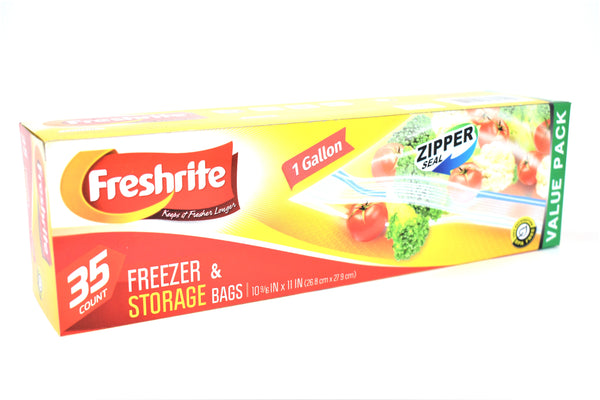 Freshrite 1 Gallon Zipper Seal Freezer & Storage Bags, 35 ct.
