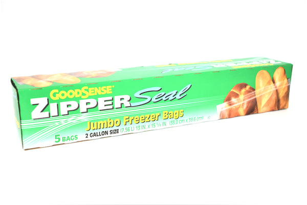 GoodSense Zipper Seal 2 Gallon Jumbo Freezer Bags, 5 ct.