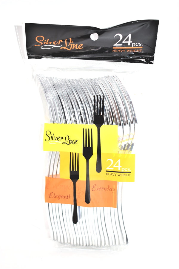 Silver Line Heavy Weight Fancy Disposable Forks, 24 ct.