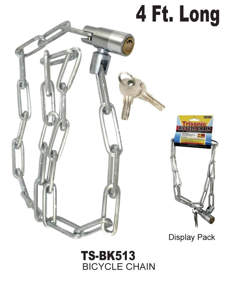 Bicycle Chain Lock With Keys, 4 ft.
