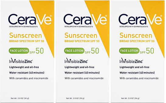 CeraVe Sunscreen Broad Spectrum SPF 50 Face Lotion, 2.0 oz (EX 3/20) (Pack of 3)