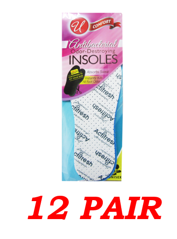 Antibacterial Odor-Destroying Insoles, Unisex, Size Woman 3 - Man 11, 12-Pair