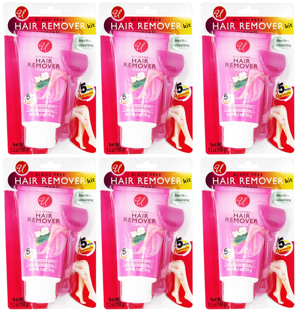 Blade Free Hair Remover Cream Kit - 5 Minute Formula, 5.2 oz. (Pack of 6)