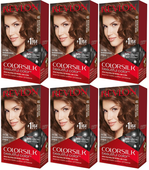 Revlon ColorSilk Beautiful Color™ Hair Color - 46 Medium Golden Chestnut Brown (Pack of 6)