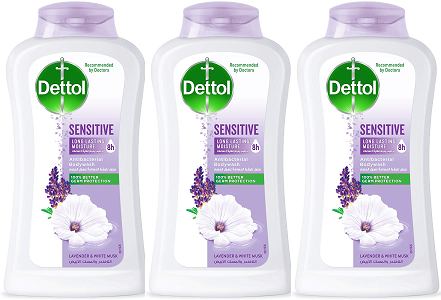 Dettol Sensitive Antibacterial Body Wash Lavender & White Musk, 300g (Pack of 3)