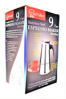 Stainless Steel Espresso Maker, 9-Cup