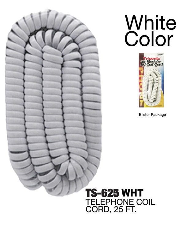 Modular Coil Phone Cord, 25 ft., White