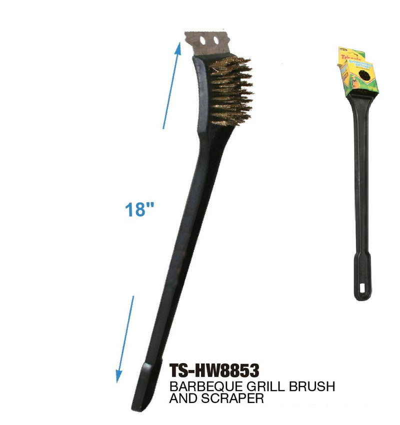 Long Barbecue Grill Brush and Scraper