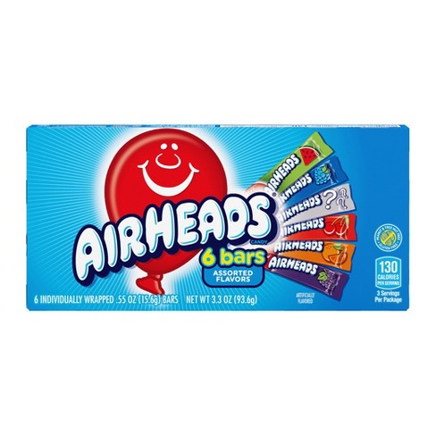 Airheads 6 Bars Assorted Flavors, 3.3 oz