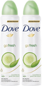 Dove Go Fresh Cucumber & Green Tea Scent Anti-Perspirant Body Spray, 150 ml (Pack of 2)