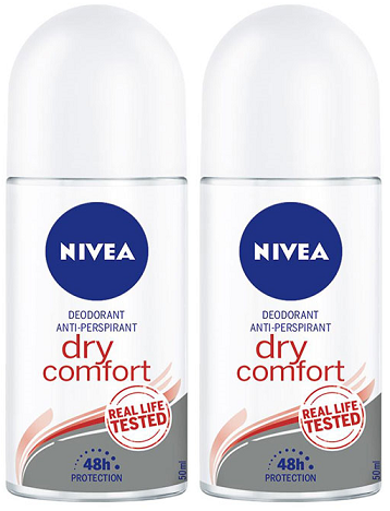 Nivea Dry-Comfort Anti-Perspirant Deo Roll on, 50 ml (Pack of 2)