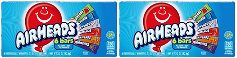 Airheads 6 Bars Assorted Flavors, 3.3 oz (Pack of 2)