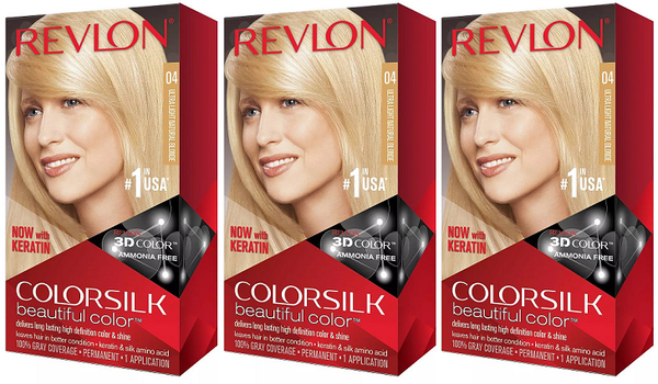 Revlon ColorSilk Beautiful Color™ Hair Color - 4 Ultra Light Natural Blonde (Pack of 3)