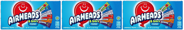 Airheads 6 Bars Assorted Flavors, 3.3 oz (Pack of 3)