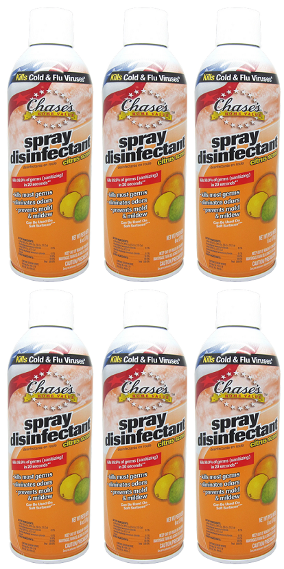 Chase's Home Value Spray Disinfectant Citrus Scent, 6 oz. (Pack of 6)