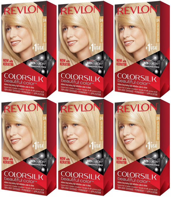 Revlon ColorSilk Beautiful Color™ Hair Color - 4 Ultra Light Natural Blonde (Pack of 6)