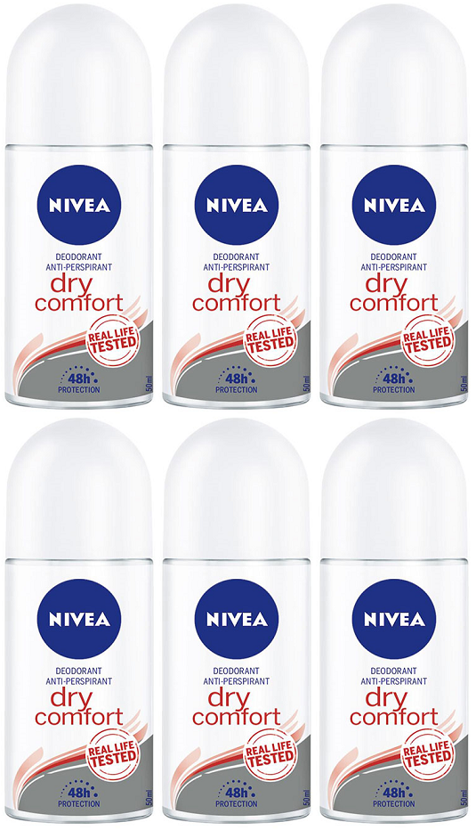 Nivea Dry-Comfort Anti-Perspirant Deo Roll on, 50 ml (Pack of 6)