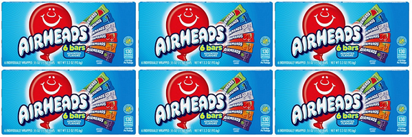 Airheads 6 Bars Assorted Flavors, 3.3 oz (Pack of 6)