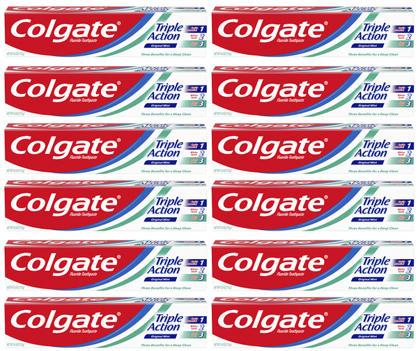 Colgate Triple Action Original Mint Toothpaste, 4.0 oz. (Pack of 12)