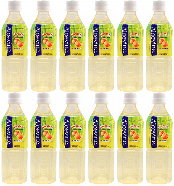 Aloevine Peach Drink, 500 ml (Pack of 12)