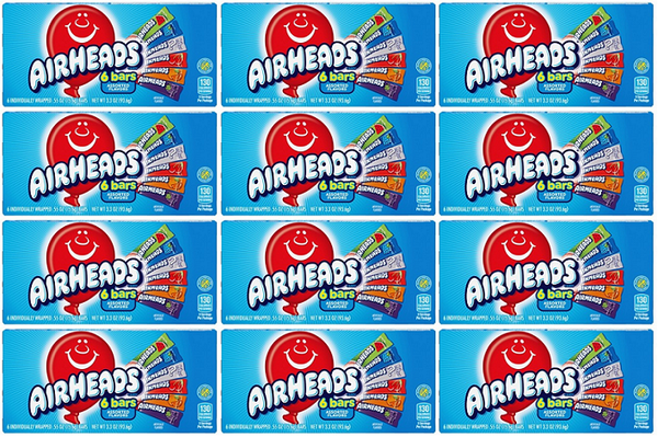 Airheads 6 Bars Assorted Flavors, 3.3 oz (Pack of 12)