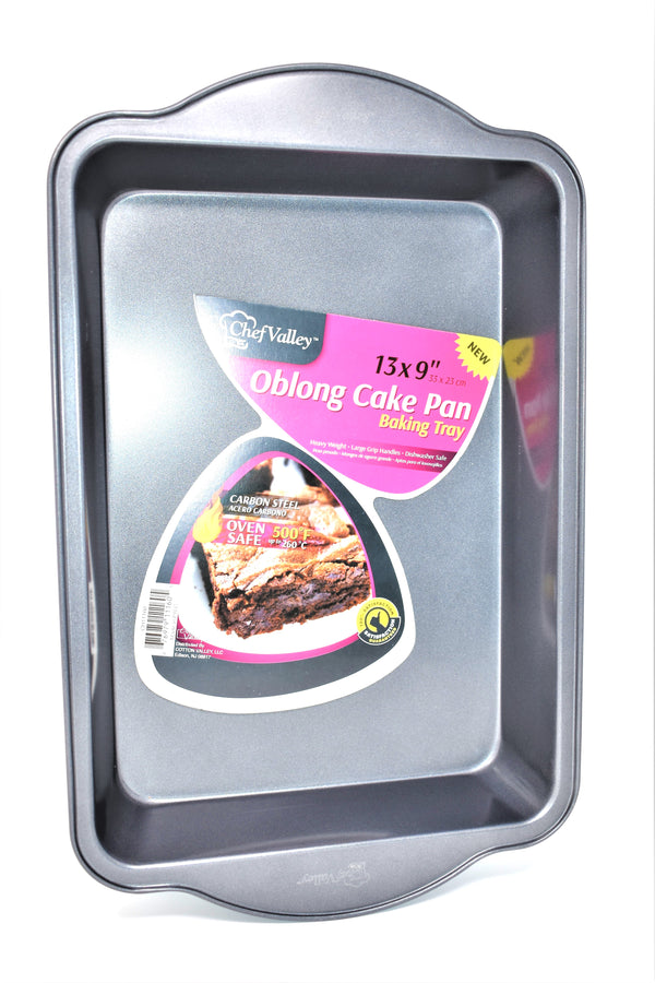 "Chef Valley Oblong Cake Pan Baking Tray Pan, 13"" x 9"""