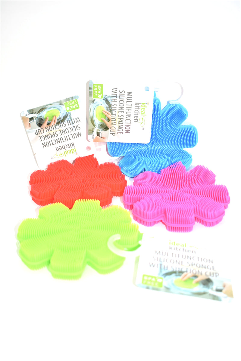 "4.2"" Multi-Function Silicone Sponge With Suction Cup, 1 ct."