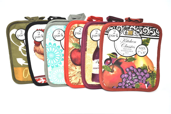 "7"" x 8"" Kitchen Classics Printed Potholder Set, 2 ct per pack"