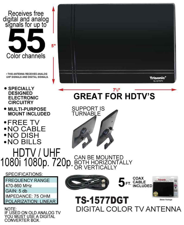 Digital HDTV/UHF Color TV Antenna, Reach Up To 105 Channels