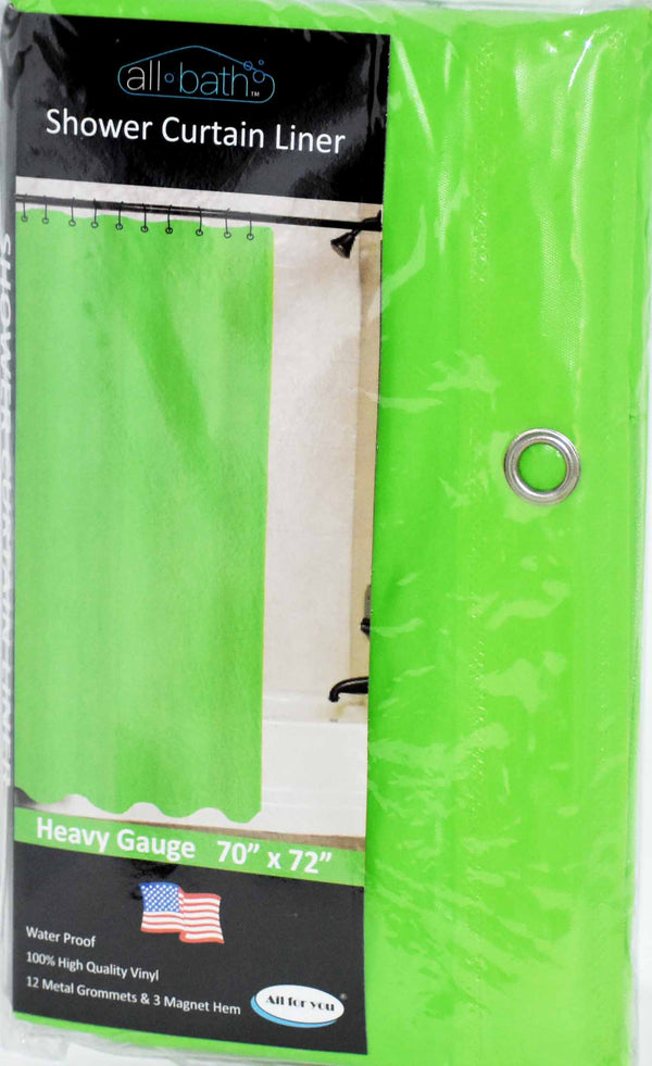 "All Bath Shower Curtain 70"" x 72"" Light Green Color, 1-ct"