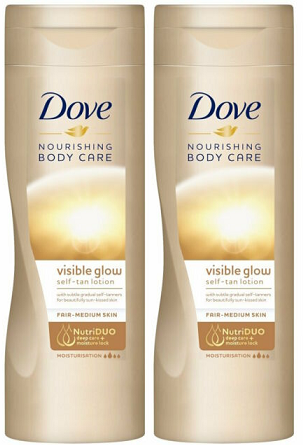 Dove Nourishing Secrets Visible Glow Salf-Tan Body Lotion, 250 ml (Pack of 2)