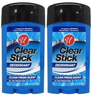 Clear Stick Deodorant Clean Fresh Scent, 2.25 oz (Pack of 2)