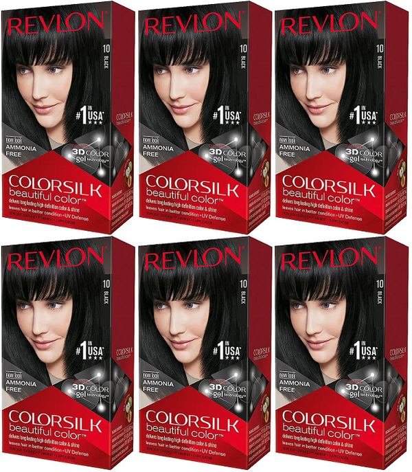 Revlon ColorSilk Beautiful Color™ Hair Color - 10 Black (Pack of 6)