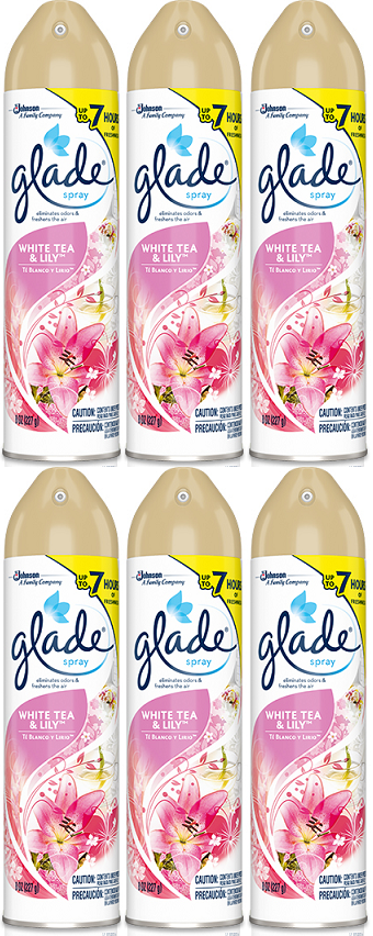 Glade White Tea & Lilly Spray, 8 oz (Pack of 6)