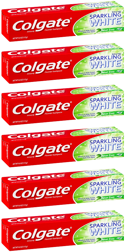 Colgate Sparking White Mint Zing Toothpaste, 4.0 oz. (Pack of 6)