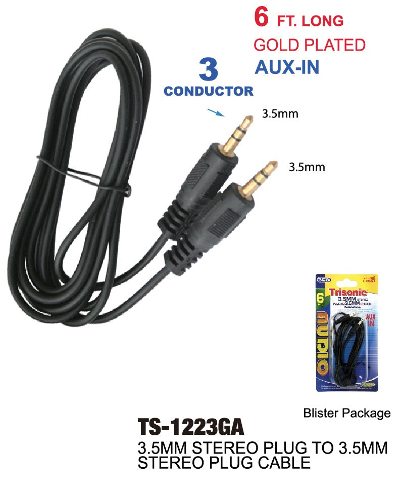 3.5mm Stereo Plug to 3.5mm Stereo Plug Cable, 6 ft. Aux. In