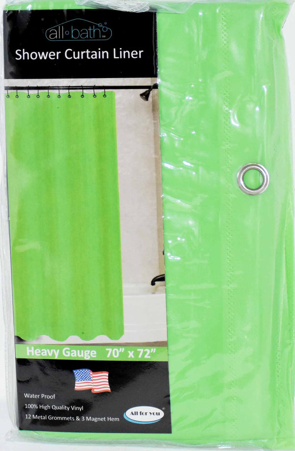 "All Bath Shower Curtain 70"" x 72"" Lime Color, 1-ct"